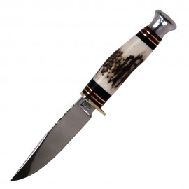 Bowie knife with 4 inch blade and natural stag handle
